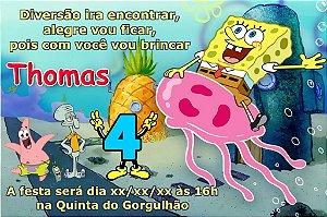Convite digital personalizado Bob Esponja Calça Quadrada 006