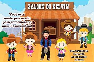 Convite digital personalizado Cowboy 001