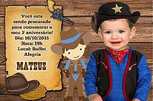 Convite digital personalizado Cowboy 002