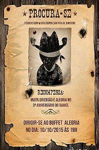 Convite digital personalizado Cowboy 004