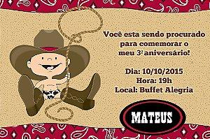 Convite digital personalizado Cowboy 008