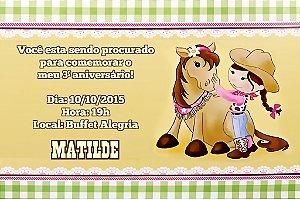 Convite digital personalizado Cowgirl 002