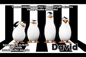Convite digital personalizado Pinguins de Madagascar 002