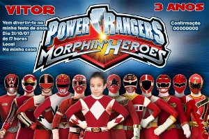 Convite digital personalizado Power Rangers 001