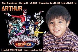 Convite digital personalizado Power Rangers 007