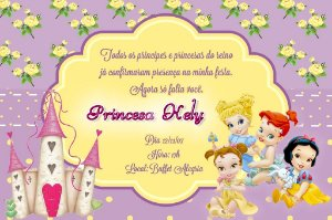 Convite digital personalizado Princesas Disney Baby 002
