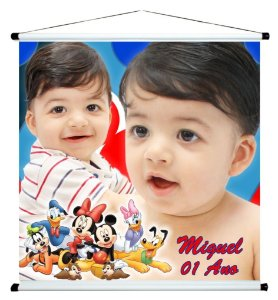 Banner personalizado 1 m x 1 m Turma do Mickey 002