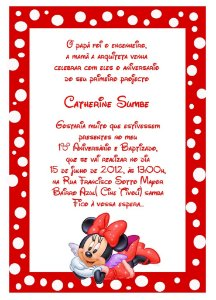 Convite digital personalizado Minnie 017