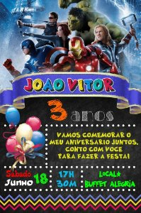 Convite digital quadro (Chalkboard) Vingadores 004