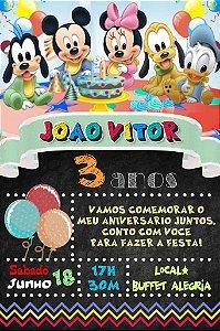 Convite digital quadro (Chalkboard) Baby Disney 006