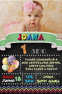 Convite digital quadro (Chalkboard) com foto 008