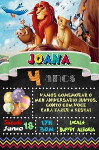 Convite digital quadro (Chalkboard) Rei Leão 009
