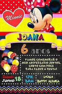 Convite digital quadro (Chalkboard) Minnie Vermelha 013