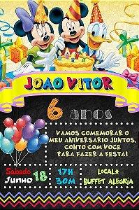 Convite digital quadro (Chalkboard) Turma do Mickey 014