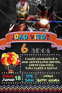 Convite digital quadro (Chalkboard) Iron Man 015