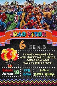 Convite digital quadro (Chalkboard) Super Herois 016