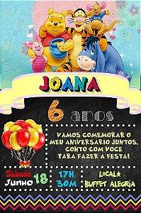 Convite digital quadro (Chalkboard) Ursinho Pooh 018
