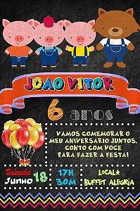 Convite digital quadro (Chalkboard) Os Três Porquinhos 023