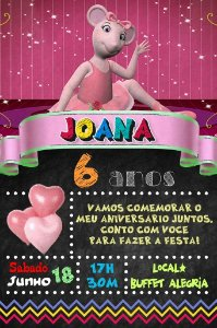 Convite digital quadro (Chalkboard) Angelina Bailarina 031