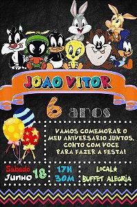 Convite digital quadro (Chalkboard) Baby Looney Tunes 035