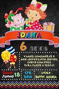 Convite digital quadro (Chalkboard) Baby Moranguinho 036
