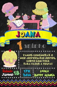 Convite digital quadro (Chalkboard) Chá de Bonecas 052