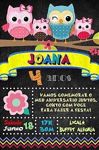 Convite digital quadro (Chalkboard) Corujas 057