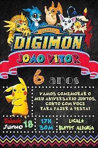 Convite digital quadro (Chalkboard) Digimons 065