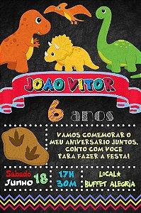 Convite digital quadro (Chalkboard) Dinossauros 066
