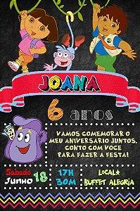 Convite digital quadro (Chalkboard) Dora a Aventureira 070