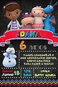 Convite digital quadro (Chalkboard) Doutora Brinquedos 072