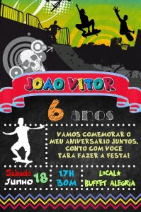 Convite digital quadro (Chalkboard) Esportes Radicais 075