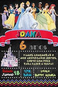 Convite digital quadro (Chalkboard) Princesas Disney 076