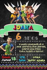 Convite digital quadro (Chalkboard) Fadas Disney 079