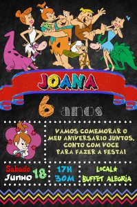 Convite digital quadro (Chalkboard) Flintstones 082