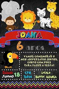 Convite digital quadro (Chalkboard) Floresta 083