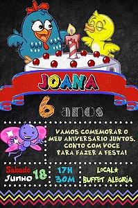 Convite digital quadro (Chalkboard) Galinha Pintadinha 087