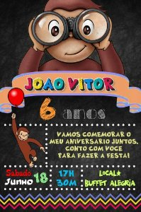 Convite digital quadro (Chalkboard) George, O Curioso 089