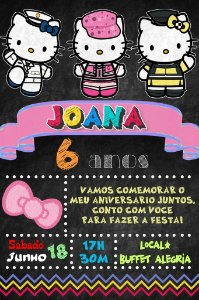 Convite digital quadro (Chalkboard) Hello Kitty 090