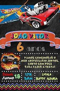 Convite digital quadro (Chalkboard) Hot Wheels 093