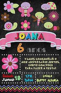 Convite digital quadro (Chalkboard) Jardim Encantado 094