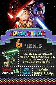 Convite digital quadro (Chalkboard) Lego Star Wars 100