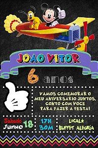 Convite digital quadro (Chalkboard) Mickey Mouse 105