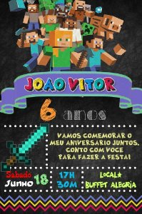 Convite digital quadro (Chalkboard) Minecraft 107