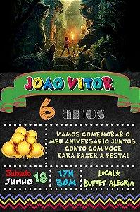 Convite digital quadro (Chalkboard) Mogli, O Menino Lobo 108