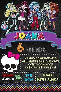 Convite digital quadro (Chalkboard) Monster High 109