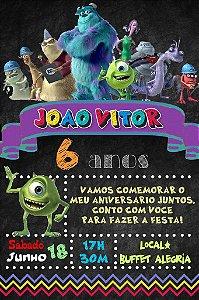 Convite digital quadro (Chalkboard) Monstros S.A. 111