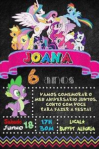 Convite digital quadro (Chalkboard) My Little Pony 113
