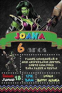 Convite digital quadro (Chalkboard) Mulher-Hulk/She-Hulk 115