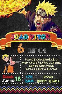 Convite digital quadro (Chalkboard) Naruto 116
